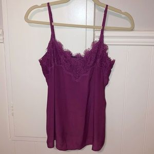 Silky satin lace cami solid purple